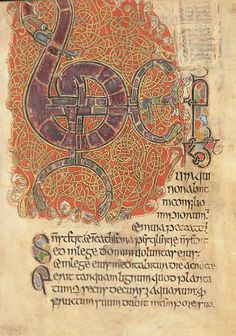 illuminated page from a 13th century Irish manuscript known as 'The Psalter of Cormac'