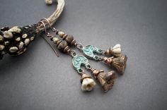 boho rustic earrings • flower glass bells • oxidized copper blue patina • ethnic chic • earthy • brown glass • frosted • gipsy • danglies by entre2et7 on Etsy