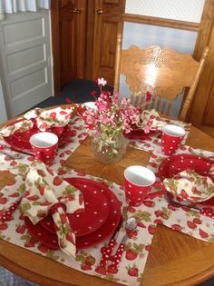 Strawberries and Polka Dots.... dishes from Macy's and flatware from overstock.com