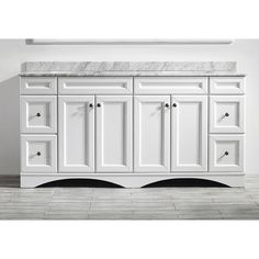 Naples 72-inch Double Vanity in White with Carrera White Marble Top (Mirrorless) - Overstock Shopping - Great Deals on Bathroom Vanities