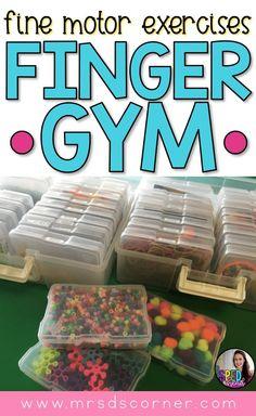 Finger Gyms Fine Motor Exercises. Love the organizational system.