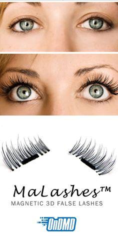 "MaLashes™ magnetic eyelashes give you luxurious length and volume, without that ""false lash"" effect! No need for irritating glue!"