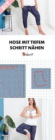 Haremshose selbstgenäht: Hose mit tiefem Schritt nähen - ohne Schnittmuster! Nähanleitung via Makerist.de