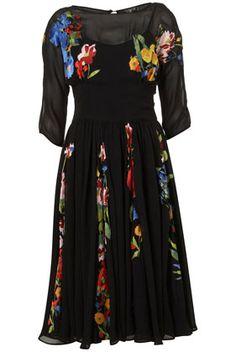 Applique Flower Midi Dress