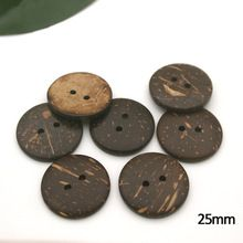 25mm 1 inch 2 hole natural coconut buttons round sewing flatback brown buttons COCO-012