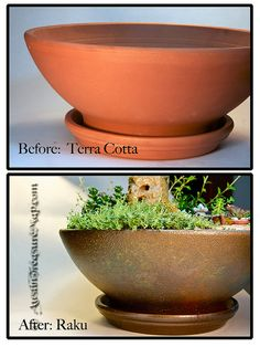 How I made the pot:  Before and After pictures of a DIY project to turn an 8 dollar terra cotta pot into a raku look for a miniature Fairy Zen Japanese Tea Garden. Coated pot with: Valspar Stone Spray Paint (color doesn't matter), Rust-Oleum Hammered Brown Spray Paint. Then used fingers to run on Craft-T Metalic Rub-Ons paint; then dappled on Plaid Metalic Emerald Green and Gold acrylic Paints; then sprayed with Tattered Angels Glimmer Mist in Old Lace color; then sprayed with Valspar clear…