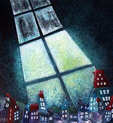 Painting, illustration, graphic and furnitures design, video, photography and many creative stuffs of Anna Horváth – Annabies Art & Design. Window View, Little Houses, Home Art, Landscape Paintings, Windows, Art Houses, Drawings, Creative, Pretty