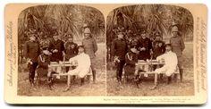 Stereograph British, Russian, German, Austrian, Japanese and Swedish Military Attachés Santiago de Cuba 1898