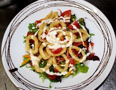 Tomi's Salad of The Day, this is a Salt and Pepper Calamari Salad with a Creamy Aioli Dressing. Salt And Pepper Calamari, Aioli, Main Meals, Pasta Salad, Dressing, Restaurant, Stuffed Peppers, Ethnic Recipes, Food