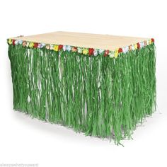 Green Grass Table Skirt w Hibiscus Flowers Wedding Bridal Luau Party Decorations | eBay