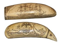 Pair of Scrimshaws, c 1852