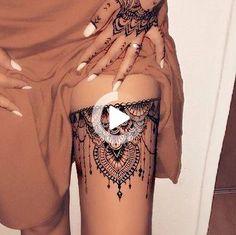Amazing 30 Sexy thigh tattoos ideas for women Enhance charm Henna Thigh Tattoo, Flower Thigh Tattoos, Thigh Tattoo Designs, Cute Hand Tattoos, Small Hand Tattoos, Hand Tattoos For Guys, Upper Thigh Tattoos, Leg Tattoos, First Time Tattoos