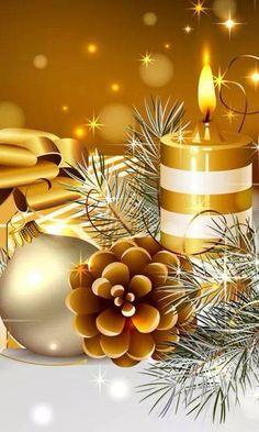 Gold Glowing Christmas Candles iPhone Wallpape feliz navidad r Christmas Scenes, Noel Christmas, Christmas Candles, Christmas Wishes, Christmas Greetings, Vintage Christmas, Christmas Decorations, Preppy Christmas, Vector Christmas