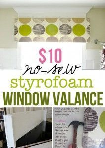 How to make a no sew window treatment window valance that uses Styrofoam insulation. How to make a no sew window treatment window valance that uses Styrofoam insulation. Window Cornices, Window Coverings, Easy Window Treatments, Window Cornice Diy, Valences For Windows, Bay Windows, Window Seats, Window Blinds, Home Improvement Projects
