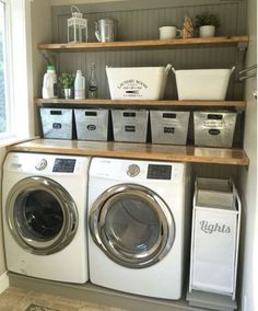 45 Inspiring small laundry room design and decoration ideas . Inspiring little laundry room design and decoration ideas decoration Inspiring small laundry room design and decoration id Laundry Nook, Laundry Room Remodel, Laundry Room Organization, Laundry Room Design, Basement Laundry, Storage Organization, Storage Shelves, Laundry Room Shelving, Storage Buckets