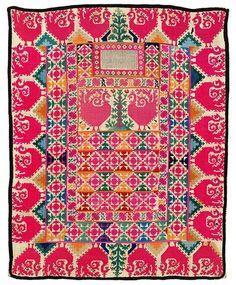 Tajik veil... silk embrodiery on cotton cloth, Central Asia (suzani)