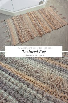 Crochet For Beginners Crochet Pattern - Textured Rug: Hey, ladies! Check this out! The details of this rug is extremely clever for a rug! Click the link now! Knitting Projects, Crochet Projects, Knitting Ideas, Crochet Ideas, Rug Texture, Crochet Home Decor, Crochet Stitches Patterns, Crochet Gifts, Crochet Rugs