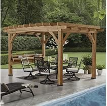 Backyard Discovery 14 X 10 Silverton Pergola W Electric Brown Installation Included Outdoor Pergola Backyard Pergola Pergola Plans