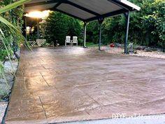 Beautiful Diy Stamped Concrete Patio Patio Remodel Concept Gorgeous Diy Stamped Concrete Tile Driveway For Less Much Less Diy Stamped Concrete, Stamped Concrete Patterns, Stamped Concrete Driveway, Concrete Driveways, Concrete Patio, Walkways, Cement Tile Backsplash, Concrete Tiles, Driveway Design