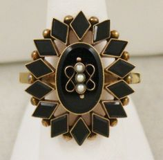 889 154 Estate Victorian 14k Yellow Gold Onyx Pearl Mourning Ring | eBay