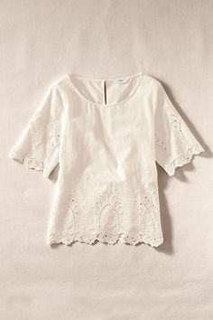 Womens Eyelet Half Sleeve Tee from Lands End Canvas