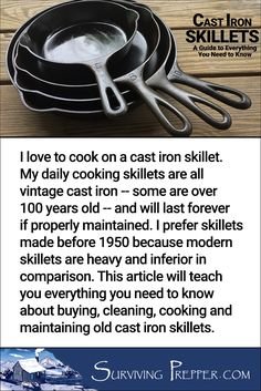 Vintage cast iron cookware is a pleasure to cook with and easy to maintain. Learn how on SurvivingPrepper.com via @https://www.pinterest.com/SurvivingPrep