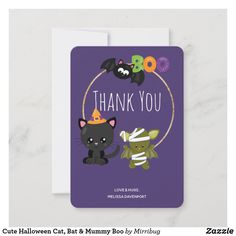Cute Halloween Cat, Bat & Mummy Boo Thank You Card Cute Black Cats, Love Hug, Custom Thank You Cards, Halloween Boo, Cool Pets, Cute Illustration, Your Cards, Paper Texture, Greeting Cards