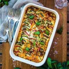 Vegetarisk gratäng med zucchini och paprika Vegetarian Buffet, Vegetarian Recipes, Cooking Recipes, Food N, Food And Drink, Vegan Dinners, Easy Healthy Recipes, Healthy Food, Vegetable Pizza