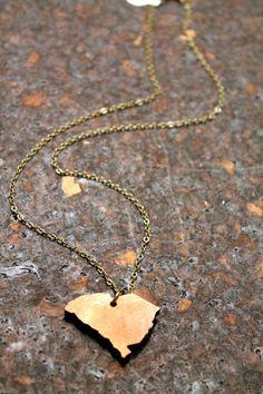 South Carolina Wooden State Necklace   ALL STATES by BezelAndZin, $18.00