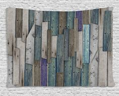 Ambesonne Wooden Curtains 2 Panel Set, Blue Grey Grunge Rustic Planks Barn House Wood and Nails Lodge Hardwood Graphic Print, Living Room Bedroom Decor, 108 W X 84 L Inches, Teal Purple Grey Wooden Wall Decor, Wooden Walls, Rustic Shower Curtains, Pallet Home Decor, Diy Pallet, Pallet Wood, Wooden Sliding Doors, Wood Plank Walls, Bathroom
