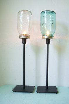 Set of 2 Sapphire Blue and Clear Mason Jar Table Top Lamps - Rustic Industrial Lighting Fixtures - Upcycled BootsNGus Light Design $90