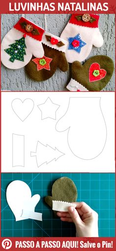 Luvinhas Christmas Memento - Find out how to do step-by-step! Felt Christmas Decorations, Christmas Crafts For Gifts, Felt Christmas Ornaments, Christmas Sewing, Christmas Items, Christmas Art, Diy Ornaments, Beaded Ornaments, Homemade Christmas