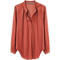 Raquel Allegra Gathered Henley Top (€200) ❤ liked on Polyvore featuring tops, blouses, shirts, blusas, long sleeve shirts, polyester shirt, pleated blouse, long sleeve henley shirt and red top