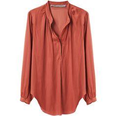 Raquel Allegra Liquid Satin Long Sleeve Blouse ❤ liked on Polyvore