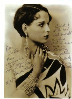 "Louise Brooks autographed picture- ""Dear Winston- These earrings are a bit extreme-even for the 1920's. I wish I still had that bracelet. I adore that dress-such an interesting pattern. Sincerely Louise Brooks."""