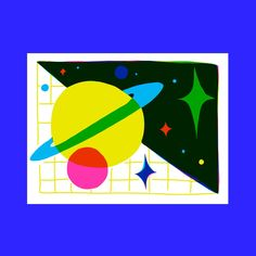 Space Magic I Screen Print One Color, Color Pop, The Jetsons, Mesh Screen, Joan Miro, Screen Printing, Planets, Magic, Paper