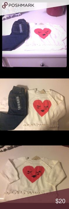 NWT Girls 6-12 month 💓 Sweater & Dark Blue Jeans Selling together as an OUTFIT! Both the sweater and jeans are new with tags, as well as both sized 6-12 months and the jeans waist band has plenty of stretch to it! Perfect for the colder months, would make a great gift! Pair with some Uggs for the cutest look ever. Sweater is an off white cream color and both items are Crazy 8 brand. Sweater was originally $19.95. Jeans were originally $17. My loss, your gain! As always, offers welcome!💕…