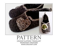 """Free pattern for crochet slippers """"Traveller"""" from Barbara Simmons at crocknit.com."""