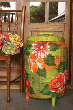 painted green basket with flowers