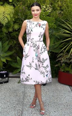 Miranda Kerr is ladylike in a pale pink Monique Lhuillier dress at the Sephora SuperFood event in L.A.