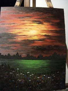 Sunset Sunrise Field Flowers Night Clouds by LindaSturmFineArt
