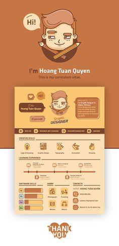 Amazing resume by Hoang Tuan Quyen. Graphic Design Resume, Resume Design Template, Typography Design, Graphisches Design, Layout Design, Portfolio Design Grafico, Cv Inspiration, Logos Retro, Infographic Resume