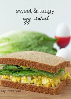 Sweet N' Tangy Egg Salad Sandwich made with Greek Yogurt