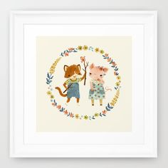 the kitten & the piglet...cute art print for a kids room...