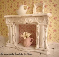 Fireplace 1/12 dolls house dollhouse miniature by FloraDollhouse, $45.00 // How fab is this? my dollhouse NEEDS it.