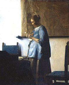 Woman Reading a Letter, Johannes Vermeer, c. 1663 - Johannes Vermeer - Artists - Explore the collection - Rijksmuseum Johannes Vermeer, Delft, Georges Braque, Vermeer Paintings, Kunst Online, Dutch Golden Age, Getty Museum, Dutch Painters, Woman Reading