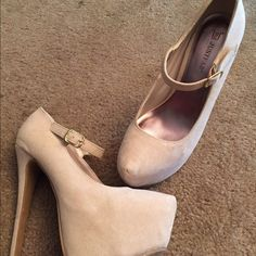 Nude Mary Jane heels Nude Mary Jane heels. The heel is 5 inches. Never worn. JustFab Shoes Heels