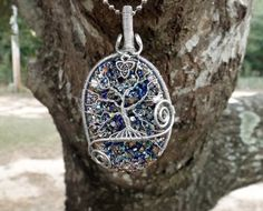 Tree of Life Pendant covering beautiful Titanium Druzy by TheSleepyFirefly
