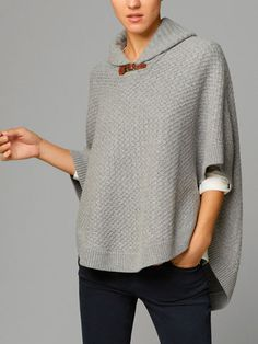 CABLE-KNIT CAPE WITH SHAWL COLLAR - New - WOMEN - Sweden
