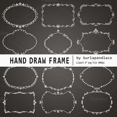 Check out Hand draw chalkboard frames by burlapandlace on Creative Market